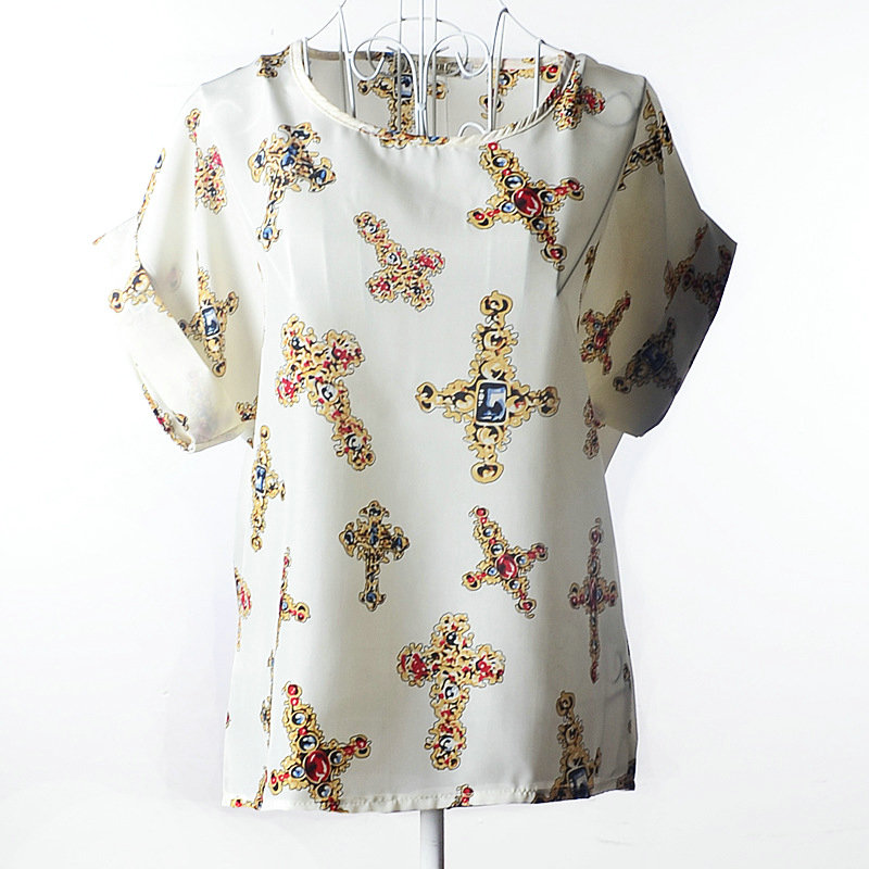 2017 Womens Fashion Short Sleeve Tops Womens Clothing Summer Casual Aestheticism Print Tee Shirt Chiffon Shirt