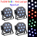 4pcs  7x10w rgbw 4in1 led par light flat par can lights for wedding lights