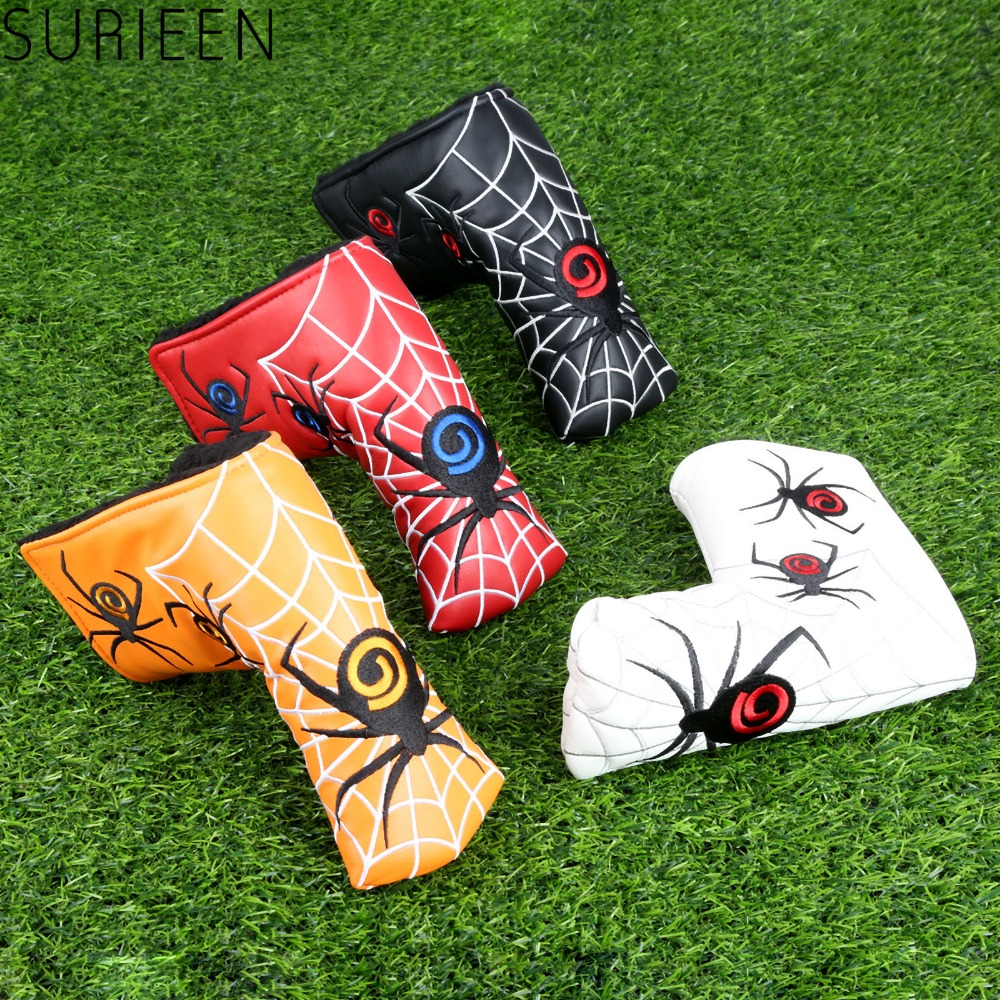 Spider With Silver Web Golf Blade Putter Cover Headcover PU Leather Head Covers Golf Accessories
