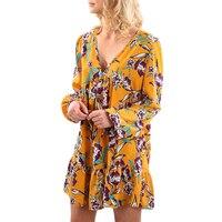 Zrujnuje 2017 Nowy Nabytek Mody Szyi Kwiat Wydrukowane Wzory Z Długim Rękawem Wiosna Jesień Mini Casual Loose Floral Dress