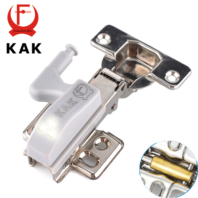 KAK Stainless Steel Hydraulic Hinge With Copper Damper Buffer Cabinet Cupboard Kitchen Door Hinges With 0.25W LED Sensor Light