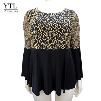 YTL Women Plus Size Tunic Retro Gold Lace Top V Neck Patchwork Flare Sleeve Blouse Spring Autumn Female Black Shirt 7XL 8XL H122