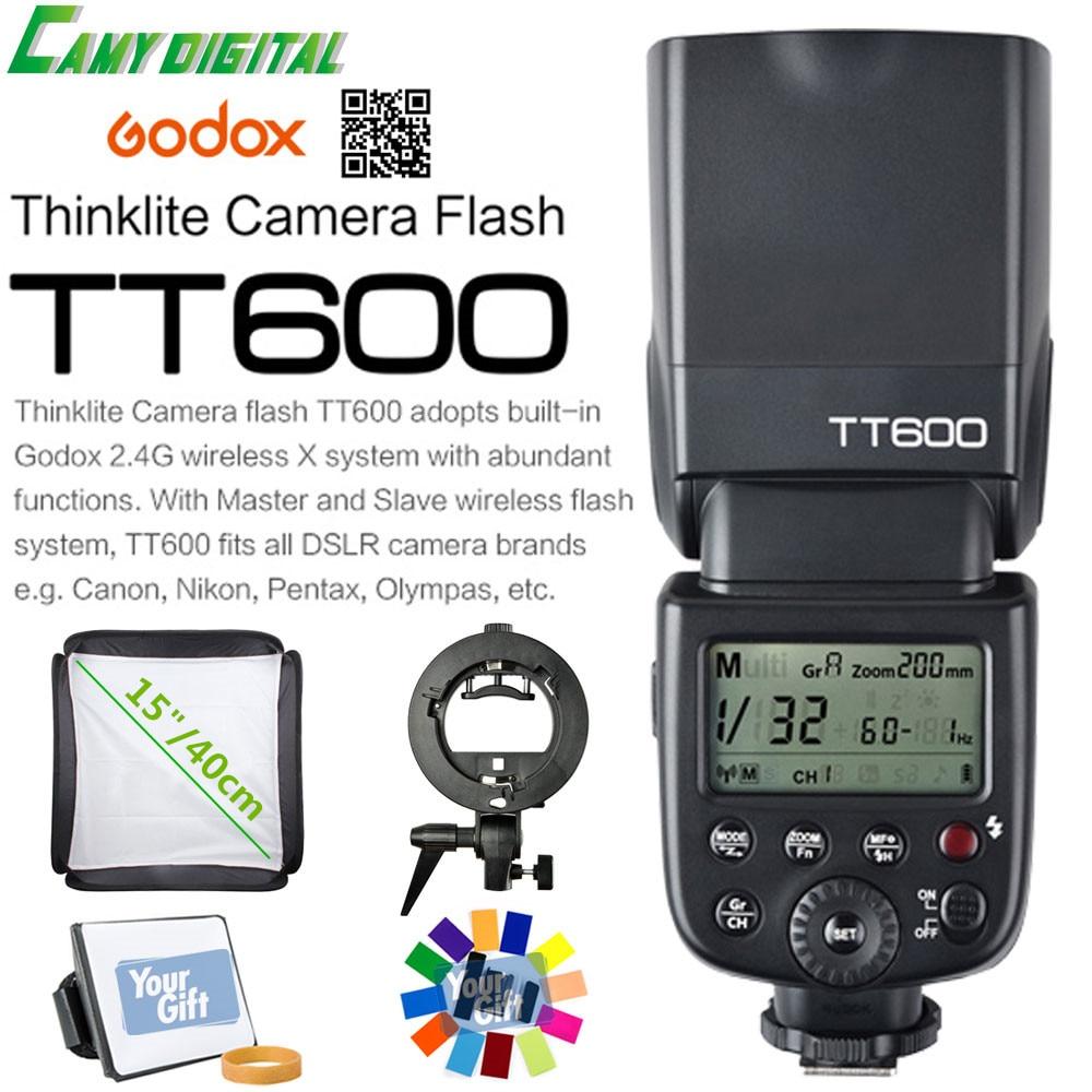 Godox TT600 GN60 HSS 1/8000s Camera Flash Speedlite 2.4G Wireless X System+Godox S-Type Bracket+Softbox+Gift Kit For Canon/Nikon