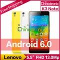 """Original lenovo k3 note k50 mtk6752 android 6.0 desbloqueio do telefone móvel Octa Núcleo Dual SIM 4G LTE FDD 5.5 """"FHD 2G RAM 13MP"""