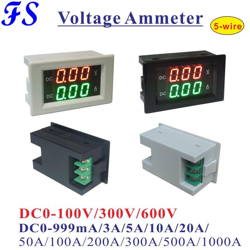 Цифровой вольтметр-Амперметр YB4835VA, постоянный ток 0-100 в, 300 В, 600 В, панельный измеритель напряжения и тока ампер, 10 А, 20 А, 50 А, а