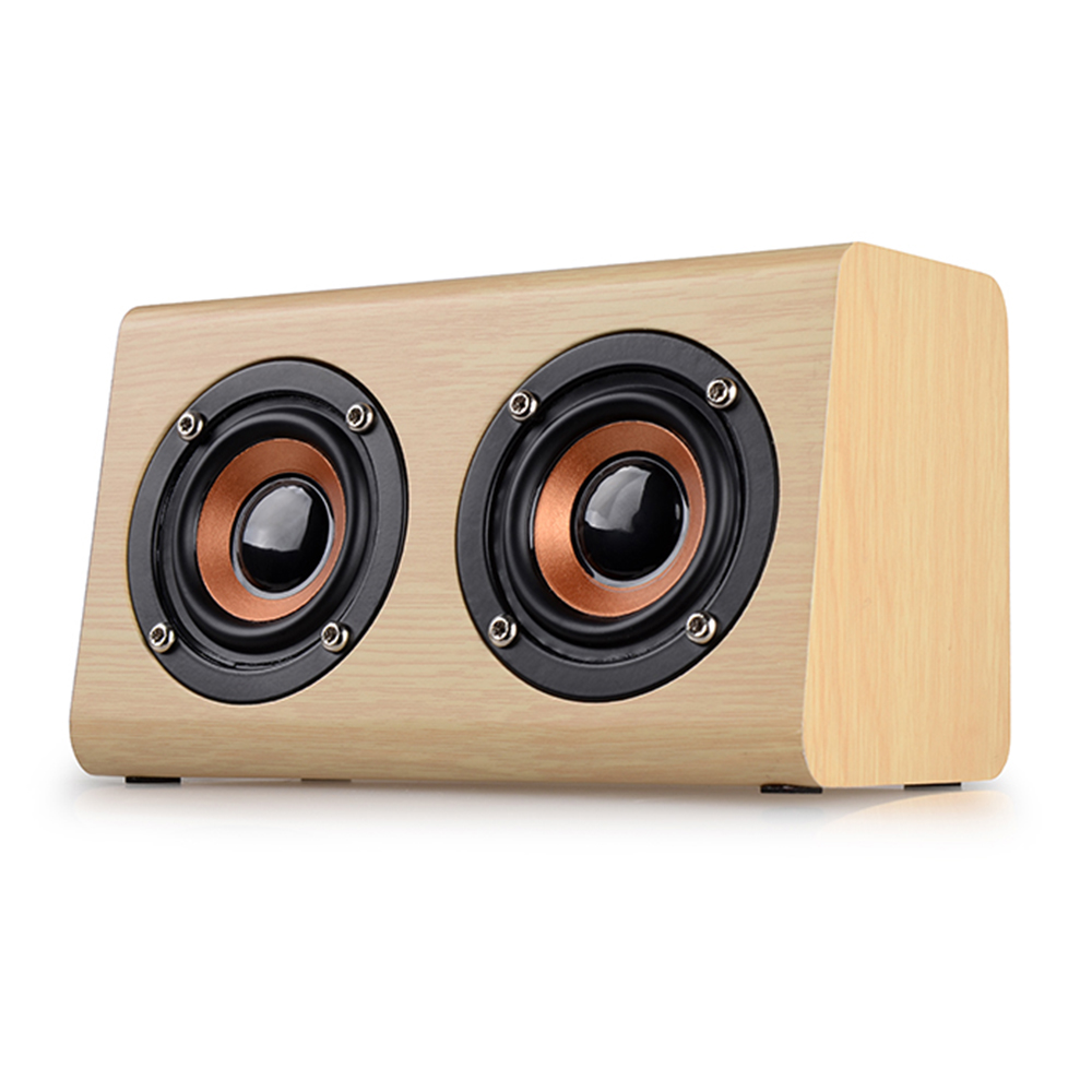 SYMRUN 2017 New Listing W7 Retro Wood HIFI 3D Dual Loudspeakers Bluetooth Speaker With Hands-free TF Card AUX IN For Phones