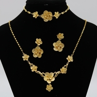 3 Pieces of Jewelry Set Flower Pendant+Bracelet+Earrings Beautiful Wedding Womens Yellow Gold Filled Classic Style Bridal Ac