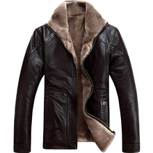 2016 Winter Leather Jacket Men Thick Warm Coat Outerwear Faux Fur men's leather Jackets and Coats Bomber Jacket Plus Size 46-58