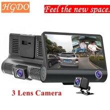 4.0 inch 1080P 3 Lens Full HD Car DVR Camera 170 Degree Rearview Dash G-sensor Auto Recorder