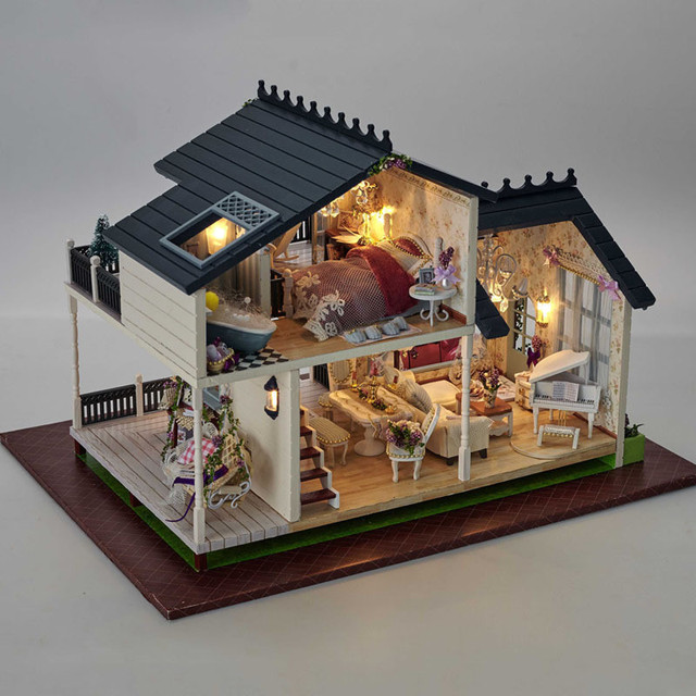 Luxury Provence Villa Furniture Dollhouse Miniature DIY Kit With Music And  LED Lights Wood Toy Dolls
