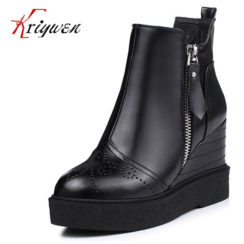 2017 New Fall winter black blue Platforms Shoes double zip Women s ankle Boots wedges round