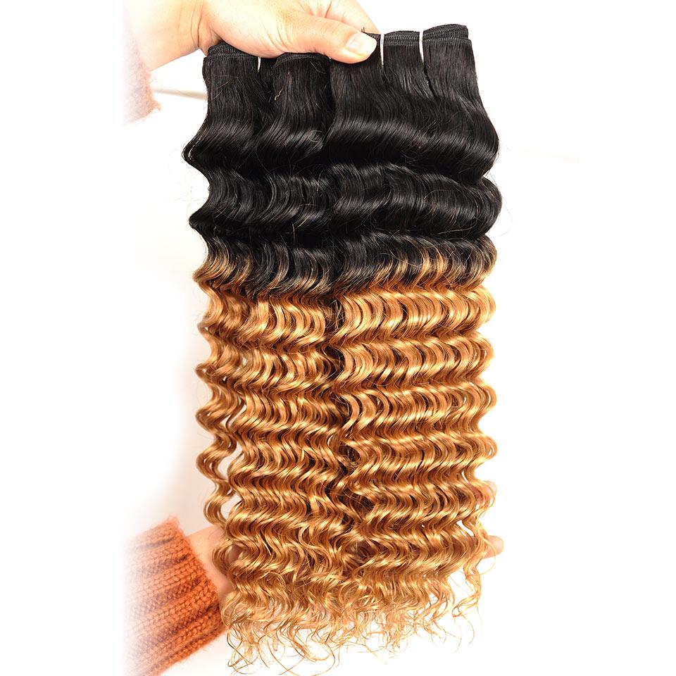 Pinshair Ombre Brasilian Hår Deep Wave Blonde 3 Bundlar With Closure - Skönhet och hälsa - Foto 5
