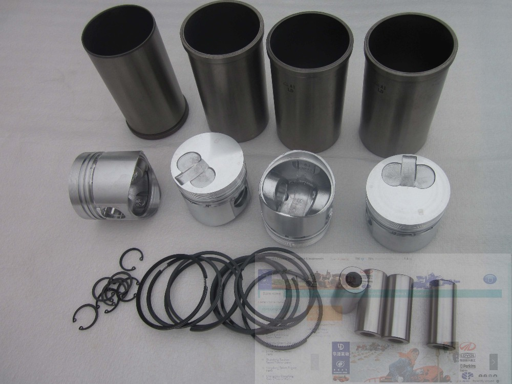 Laidong swirl engine KM4L22T, the set of piston , piston rings, piston pin, and liners for one engine use quanchai qc4102t52 parts the set of piston and piston rings part number 4102qa 03001