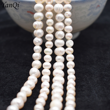 Yanqi 5-6/7-8mm White Freshwater Pearl Baroque Natural Stone Beads Bracelet Jewelry DIY Strand 14 Wholesale Lots Bulk Pearl long 80 inches 7 8mm white akoya cultured pearl necklace beads hand made jewelry making natural stone ye2077 wholesale price