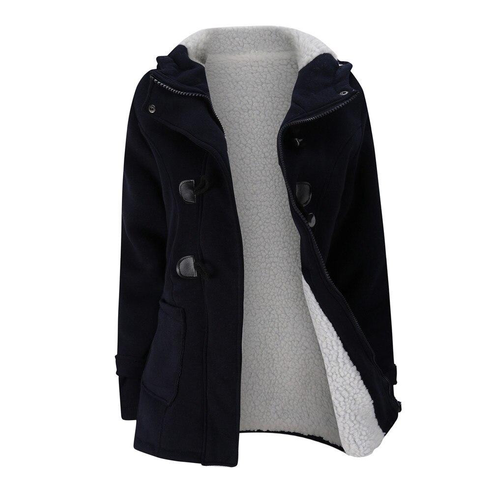 Jacket Coat Winter Women 2019 Hooded Wool Blend Praka Classic Horn Leather Buckle Coat Slim For Ladies Winter Jacket Woman Parka 14