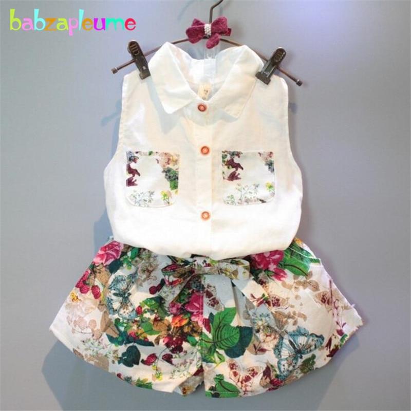 878618196ec8d 子供女の子服ノースリーブシャツスカート2ピースベビーセット子供服ファッション花柄幼児ガール衣装衣装a070