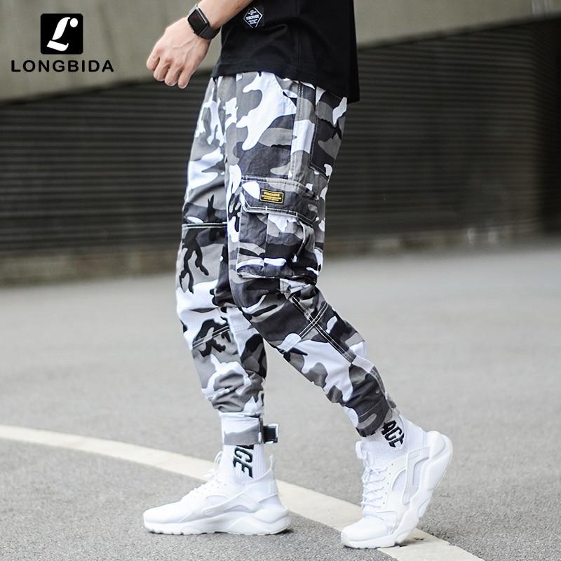 New Fashion Camouflage Punk Cargo Pants Men Style Men's Jogger Pants Streetwear Hip Hop Men Big Pocket Harem Trousers Homme(China)