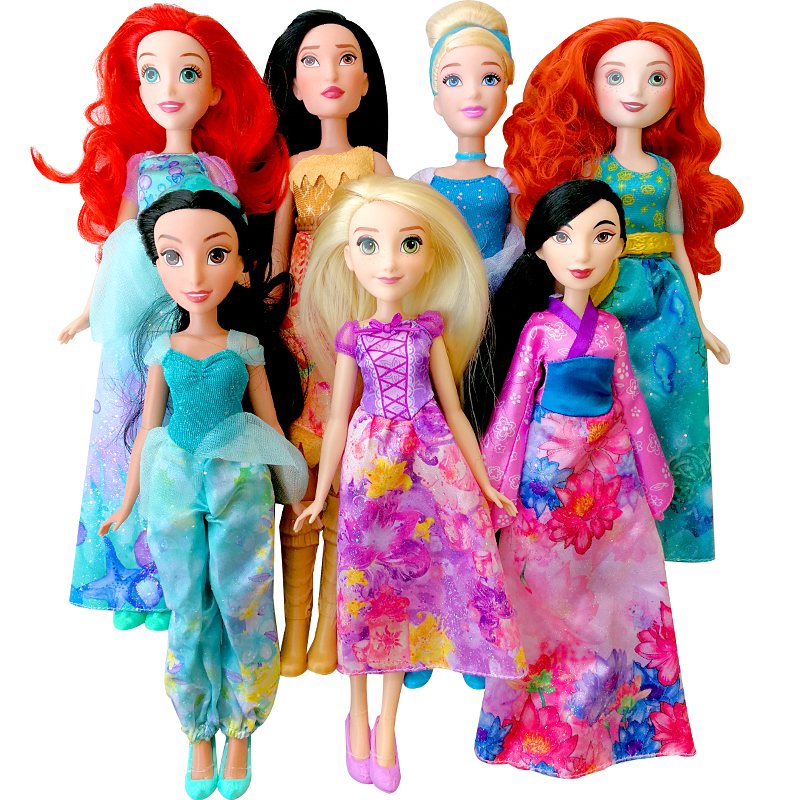 DISNEY Origina Princess Rapunzel Frog Jasmine Animators Doll mulan Ariel Merida Cinderella Aurora Belle dolls toys for children цена