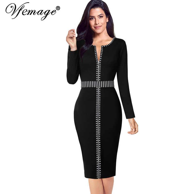 Vfemage, женское, Осеннее, зимнее, элегантное, на молнии спереди, контрастное, с длинным рукавом, тонкое, для работы, офиса, бизнеса, вечерние, коктейльное, облегающее платье 1520