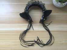 Japanese Harajuku Maid Cosplay Headdress Lovely Cat Ear Hairpin Ribbon Sweet Lolita Girls Cos Headband