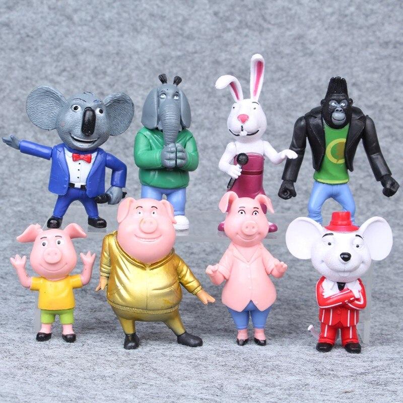 8 teile/satz Cartoon Movie Singen Action Figure Spielzeug Buster Mond Johnny Puppen Action Figure Spielzeug 7-10 CM Weihnachten geburtstag Geschenke