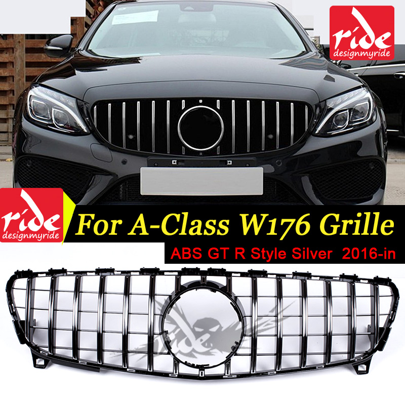W176 GT R Style ABS Silver Front Grille For MercedesMB A class A180 A200 A250 A45