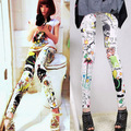 Women Floral Sunflower Stripped Print Leggings Multi-color High Waist Stretch Pants