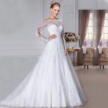 Vivian s Bridal 2018 Boothals Lange Mouwen Lady Bridal Jurk Slanke A-lijn  Terug Zipper Illusion Mesh Kant Applicaties Wedding ja. 59ed4c505b95