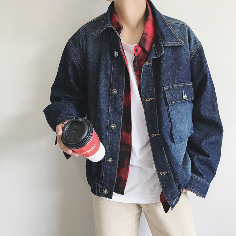 2017 autumn new style mens head print denim jacket fashion trend big size male coat black/blue clothes outwear cowboy clothes