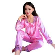 Новинка 2017 года искусственный шелк кружево Длинные рукава пижамы женские ночные сорочки удобные пижамы домашние костюмы
