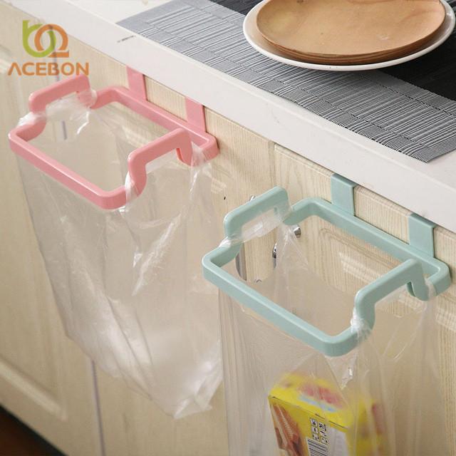 1Pcs Kitchen Gadgets Cabinet Door Garbage Bag Shelf Kitchen Tools Rack Hanging Storage Trash Rack Kitchen Accessories Goods