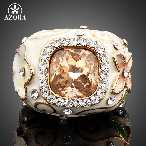 все цены на AZORA Gold Color Stellux Austrian Crystal Flower and Green Leaves Design Ring TR0004