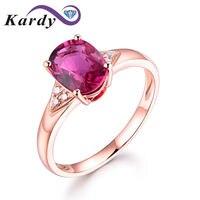 14K Rose Gold Oval Cut Genuine Pink Tourmaline & Round Cut White Diamond Ladies Bridal Halo Engagement Band Ring Set for Women
