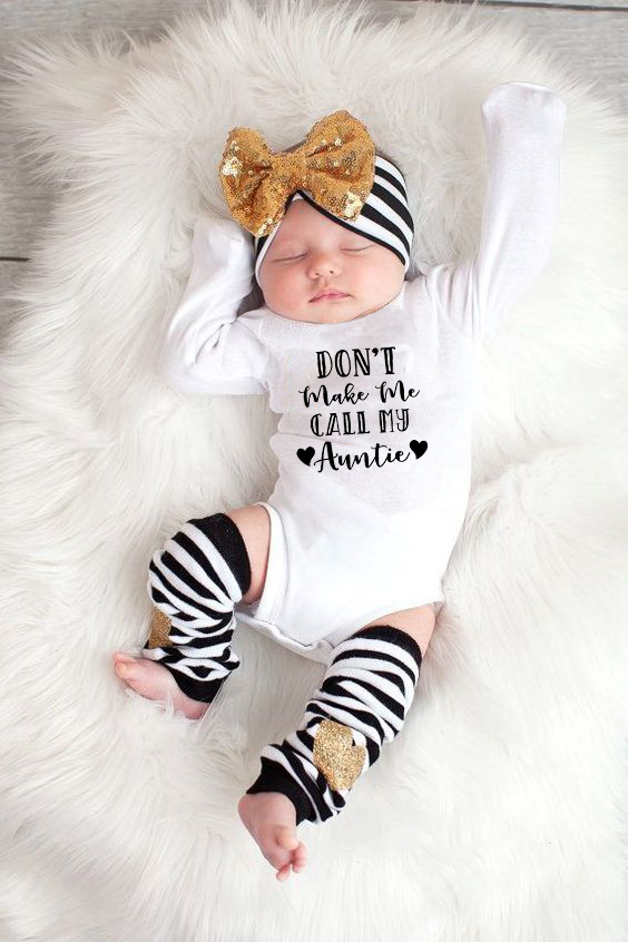 Baby Boy Girls Cotton Letter DON'T MAKE ME CALL MY AUNTIE Long Sleeve Bodysuit Infant Newborn Playsuit Baby Grows Outfits
