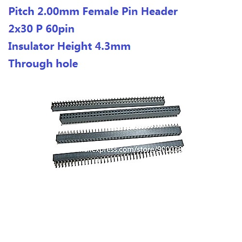 1000pcs 2x30 P 60 Pin 2.00 mm Female Header Pin Headers dual row Straight Through Hole Insulator height 4.30mm Rohs 2mm pitch