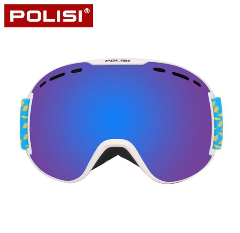 POLISI Winter Snowboard Snow Glasses Double Layer Anti-Fog Lens Polarized Ski Goggles Men Women Outdoor Snowmobile Skate Eyewear поводок для собак happy house luxury цвет песочный ореховый длина 125 см