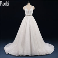 New Arrival Luxury 2017 Bling V Neck Tulle Ball Gown Wedding Dresses Sweep Train Open Back Formal Long Bridal Gown Custom Made