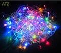 RGB 10 metros 100 LED Luz de la Secuencia de Interior 10 M Luz de La Decoración de Navidad Fiesta de Navidad de La Boda 220 V Enchufe de LA UE cadenas de Luz