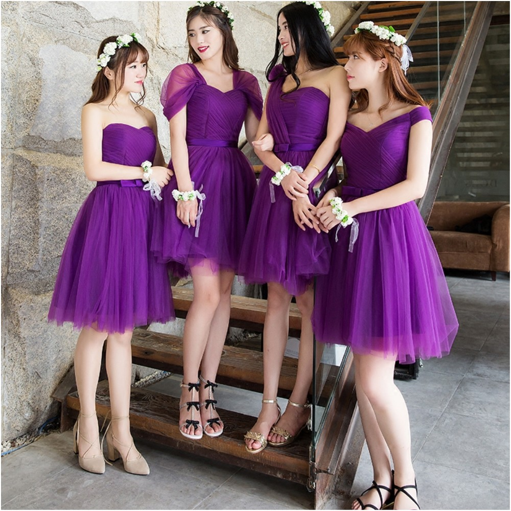 Compare prices on dark purple dresses for weddings online bridesmaid dress short paragraph wedding group dark purple short paragraph was thin sisters skirt banquet dress ombrellifo Image collections