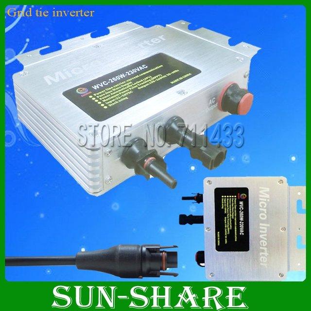 DHL free shipping ! 260w IP 65 waterproof micro solar grid tied inverter input DC 22V-50V,Output AC 120V,230V ,3year warranty!