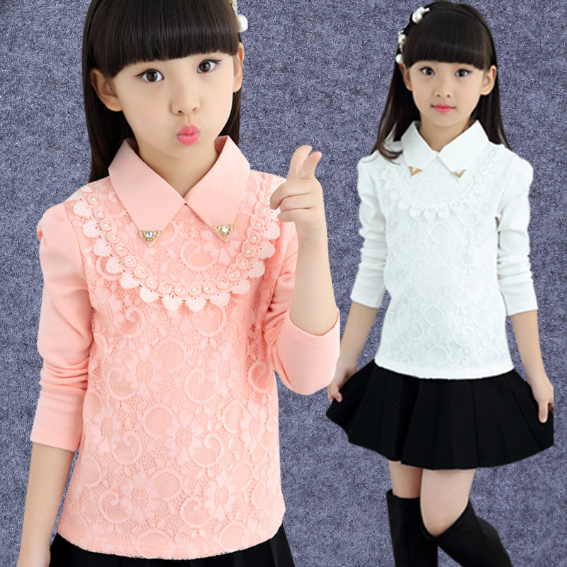 Brand Design Children Clothing Spring Fall 2017 Girls Longs Sleeve Blouse Turndown Collar Kids Lace Shirts For School