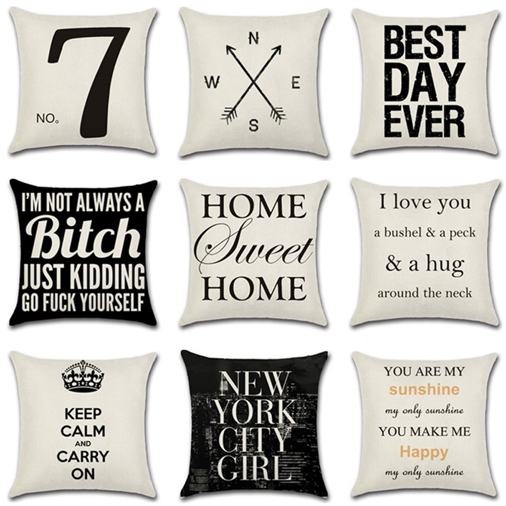 YWZN Letters Pattern Decorative Pillowcases Letter Printed Cotton Linen Throw Pillow Case Pillowcase Kussensloop Almohada