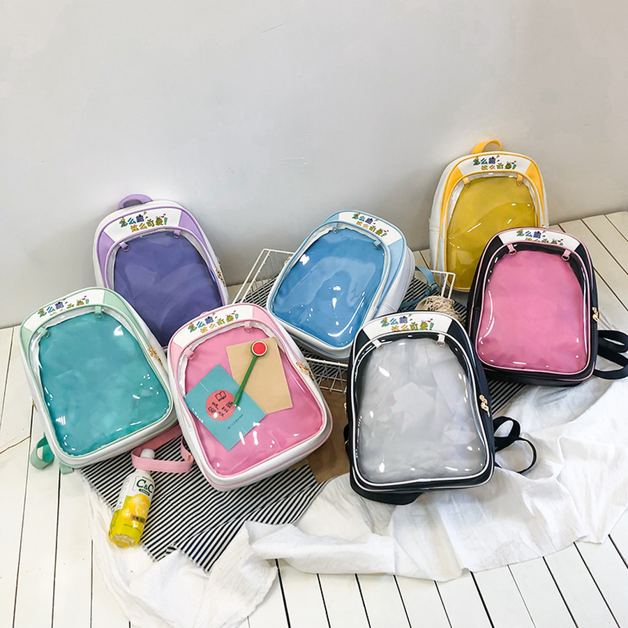Clear Transparent Women Backpacks Cute PVC Ita Bags For School Mini Pink Black Schoolbags For Teenage Girls Fashion Bookbag 2019