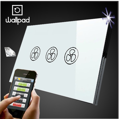 Wallpad 118 US AU Standard Crystal Glass White Wireless Remote control wall Fan touch switch,Wifi Fan Speed Switch,Free Shipping eu 1 gang wallpad wireless remote control wall touch light switch crystal glass white waterproof wifi light switch free shipping