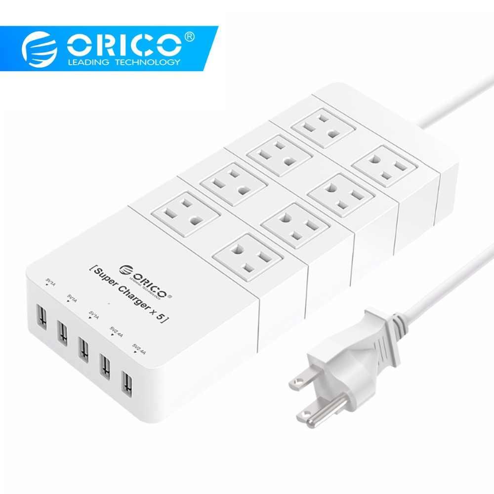 ORICO HPC-8A5U-US الأبيض الأسرة حجم 8 منفذ عرام حامي قطاع الطاقة مع 5 ميناء 40 واط USB شاحن آيفون 6 s/6/6 plus