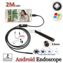 5.5mm Lens Digital OTG USB Endoscope Camera Android Phone Flexible IP67 Waterproof Snake Tube Inspection Borescope Camera 1M/2M
