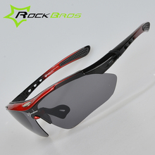 RockBros Polarized Cycling Sun Glasses Outdoor Sports Bicycle Glasses Bike Sunglasses TR90 Goggles Eyewear 5 Lens,4 Colors
