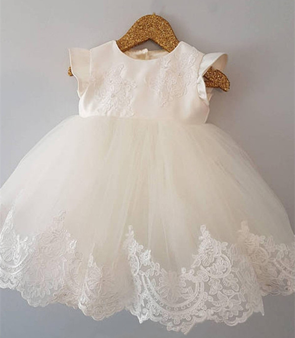Cute Baby Girls White short Christening Gown Lace Tulle Baby Infant Birthday Baptism Dress Custom Made