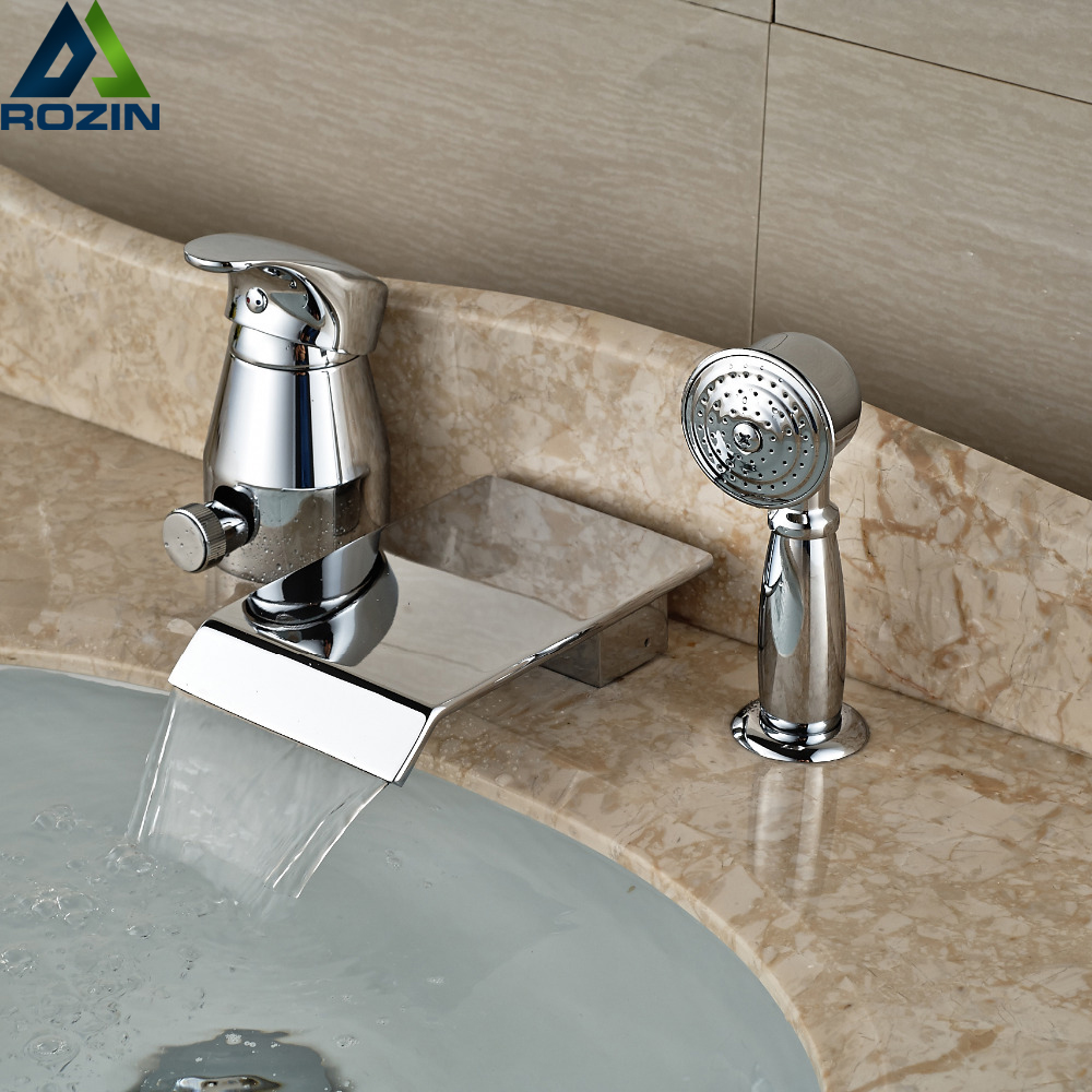 Widespread Waterfall Tub Filler with Handshower Deck Mount 3pcs Bathroom Bathtub Mixer Taps Chrome Finish цены