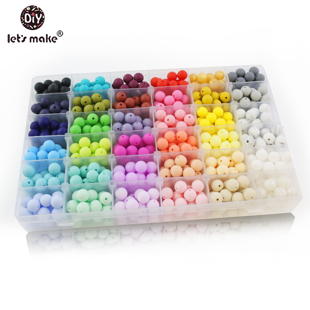 Let's Make 12mm 30pc Perle Silicone Beads Colorful Food Grade Silicone Teether Making Jewelry Necklace Beads Baby Teether Gifts